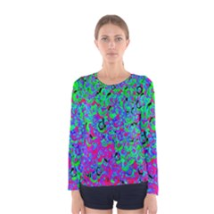 Green Purple Pink Background Women s Long Sleeve Tee