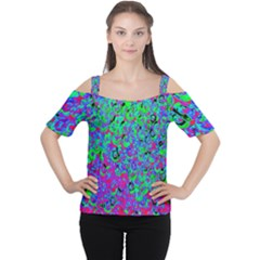 Green Purple Pink Background Women s Cutout Shoulder Tee