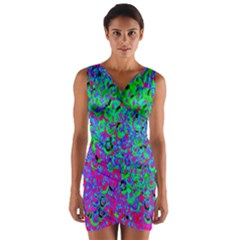 Green Purple Pink Background Wrap Front Bodycon Dress