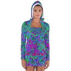 Green Purple Pink Background Women s Long Sleeve Hooded T Shirt