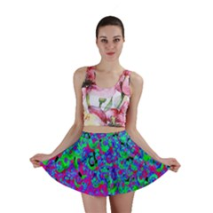 Green Purple Pink Background Mini Skirt