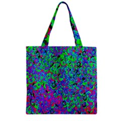 Green Purple Pink Background Zipper Grocery Tote Bag