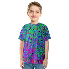 Green Purple Pink Background Kids  Sport Mesh Tee