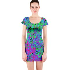 Green Purple Pink Background Short Sleeve Bodycon Dress