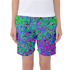 Green Purple Pink Background Women s Basketball Shorts