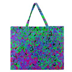 Green Purple Pink Background Zipper Large Tote Bag