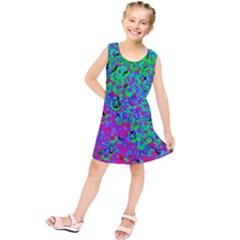Green Purple Pink Background Kids  Tunic Dress