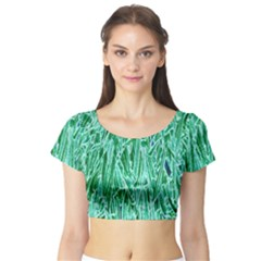 Green Background Pattern Short Sleeve Crop Top (Tight Fit)