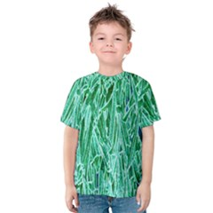 Green Background Pattern Kids  Cotton Tee