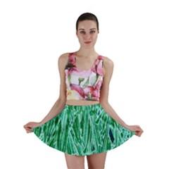 Green Background Pattern Mini Skirt