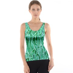 Green Background Pattern Tank Top