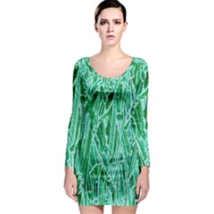 Green Background Pattern Long Sleeve Bodycon Dress