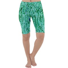 Green Background Pattern Cropped Leggings