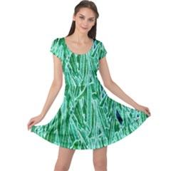 Green Background Pattern Cap Sleeve Dresses