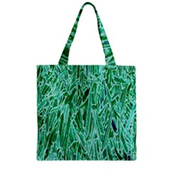Green Background Pattern Zipper Grocery Tote Bag