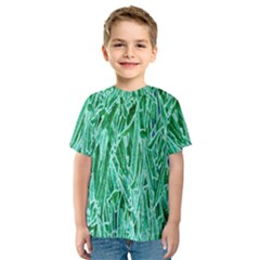 Green Background Pattern Kids  Sport Mesh Tee