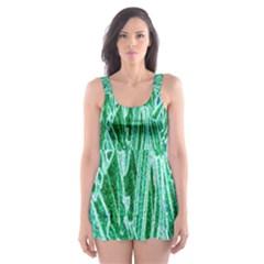 Green Background Pattern Skater Dress Swimsuit