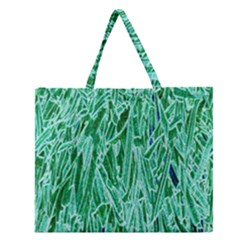 Green Background Pattern Zipper Large Tote Bag
