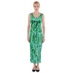 Green Background Pattern Fitted Maxi Dress