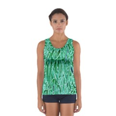 Green Background Pattern Women s Sport Tank Top