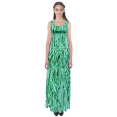 Green Background Pattern Empire Waist Maxi Dress
