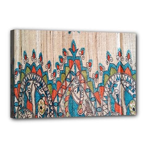 Blue Brown Cloth Design Canvas 18  x 12