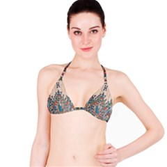 Blue Brown Cloth Design Bikini Top