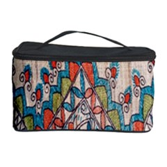 Blue Brown Cloth Design Cosmetic Storage Case