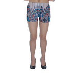 Blue Brown Cloth Design Skinny Shorts