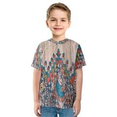 Blue Brown Cloth Design Kids  Sport Mesh Tee