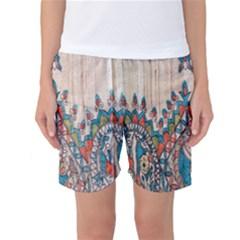 Blue Brown Cloth Design Women s Basketball Shorts