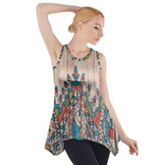 Blue Brown Cloth Design Side Drop Tank Tunic