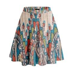 Blue Brown Cloth Design High Waist Skirt