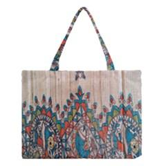 Blue Brown Cloth Design Medium Tote Bag