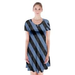 STR3 BK-MRBL BL-DENM (R) Short Sleeve V-neck Flare Dress