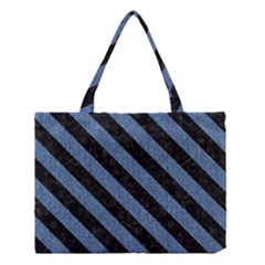 Stripes3 Black Marble & Blue Denim (r) Medium Tote Bag