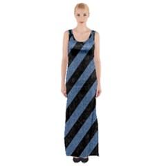 STR3 BK-MRBL BL-DENM Maxi Thigh Split Dress