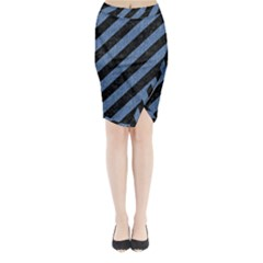 STR3 BK-MRBL BL-DENM Midi Wrap Pencil Skirt