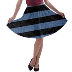 STR2 BK-MRBL BL-DENM A-line Skater Skirt