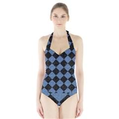 SQR2 BK-MRBL BL-DENM Halter Swimsuit