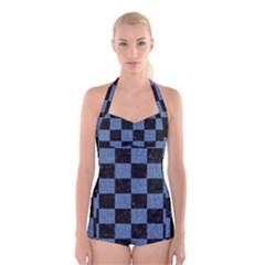 SQR1 BK-MRBL BL-DENM Boyleg Halter Swimsuit
