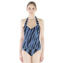 SKN3 BK-MRBL BL-DENM (R) Halter Swimsuit