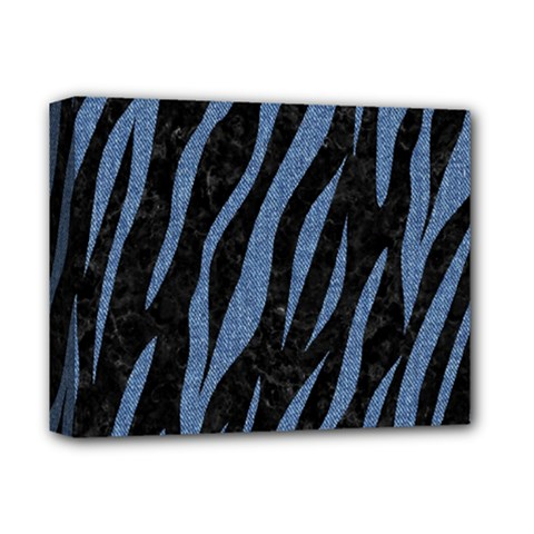 Skin3 Black Marble & Blue Denim Deluxe Canvas 14  X 11  (stretched)