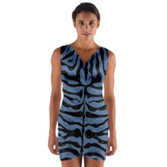 SKN2 BK-MRBL BL-DENM (R) Wrap Front Bodycon Dress