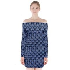 SCA2 BK-MRBL BL-DENM (R) Long Sleeve Off Shoulder Dress