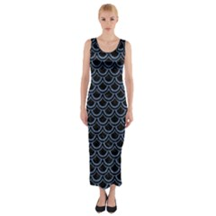 SCA2 BK-MRBL BL-DENM Fitted Maxi Dress