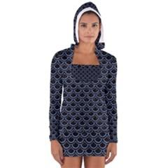 SCA2 BK-MRBL BL-DENM Women s Long Sleeve Hooded T-shirt