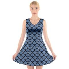 SCA1 BK-MRBL BL-DENM (R) V-Neck Sleeveless Skater Dress