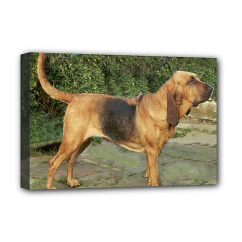 Bloodhound Black And Tan Full Deluxe Canvas 18  x 12