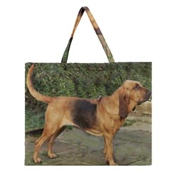 Bloodhound Black And Tan Full Zipper Large Tote Bag